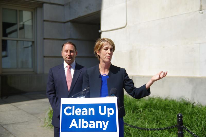 GOP Gubernatorial candidate Rob Astorino (L) and Democratic challenger Zephyr Teachout hold a join press conference outside Tweed Courthouse