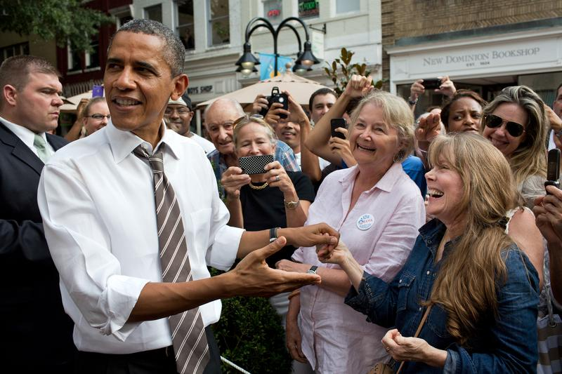 President Obama greets supporters.