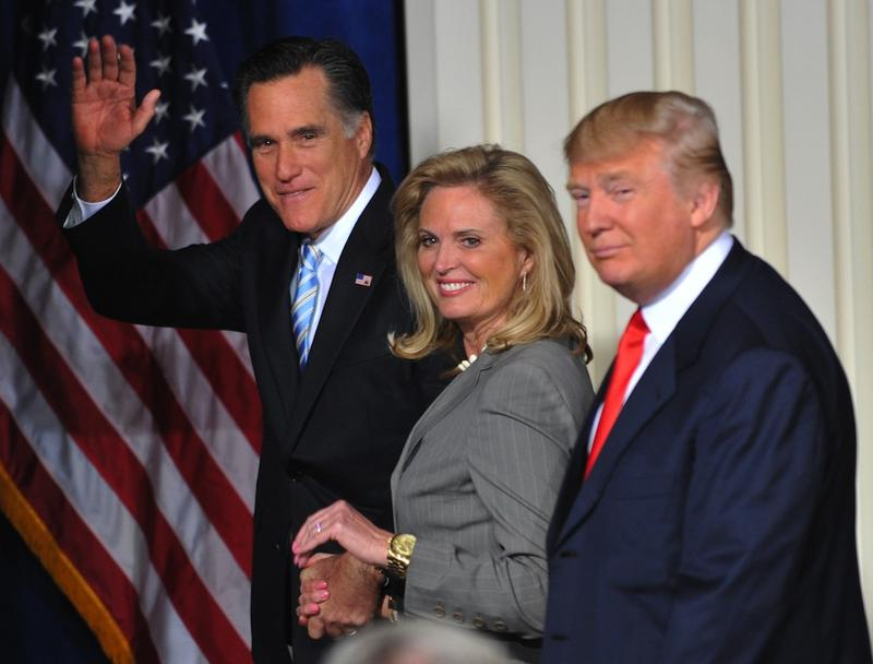 Republican Presidential presidential hopeful Mitt Romney (L) with wife Ann (C) after being endorsed by Donald Trump (R) in Las Vegas, Nevada.