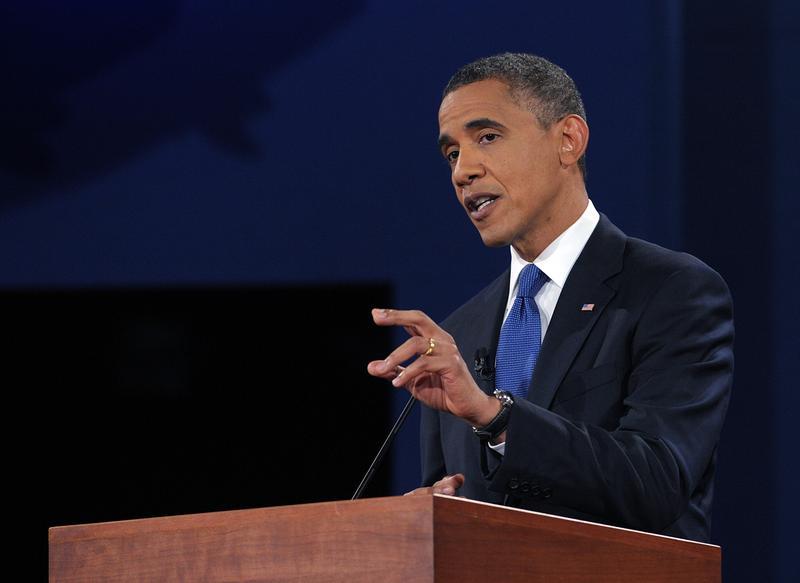 US President Barack Obama debates Republican presidential candidate Mitt Romney.