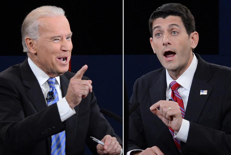 A combination picture of the vice presidential debate between Vice President Joe Biden and Republican vice presidential candidate Paul Ryan.