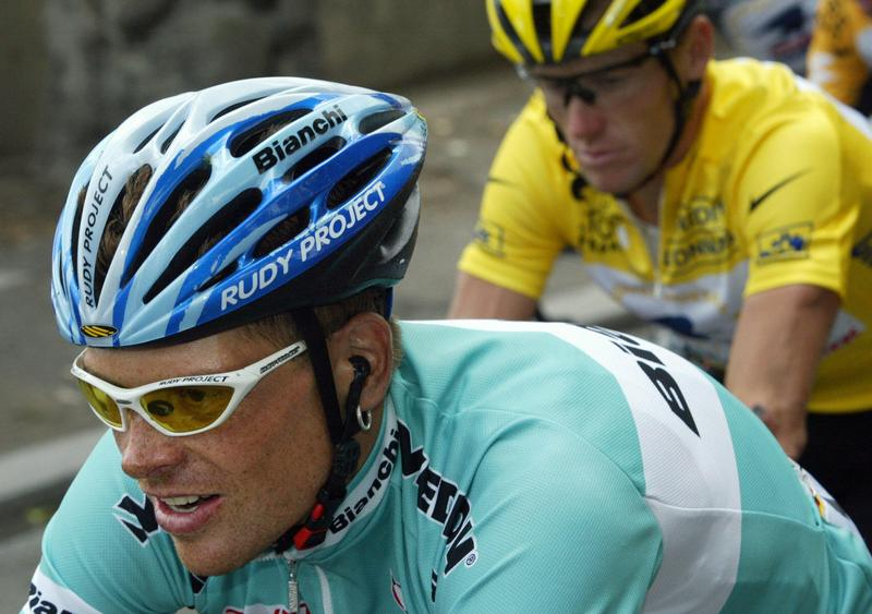 Jan Ulrich and Lance Armstrong in the 2003 Tour de France. Both riders have been found guilty of doping.