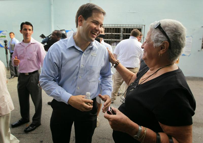 Marco Rubio, Republican candidate for Florida's U.S. Senate seat, is greeted after voting on primary day on August 24, 2010 in Miami, Florida.