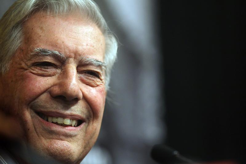 Peruvian writer Mario Vargas Llosa smiles at a press conference at Instituto Cervantes after he won the 2010 Nobel Prize in literature October 7, 2010 in New York City.