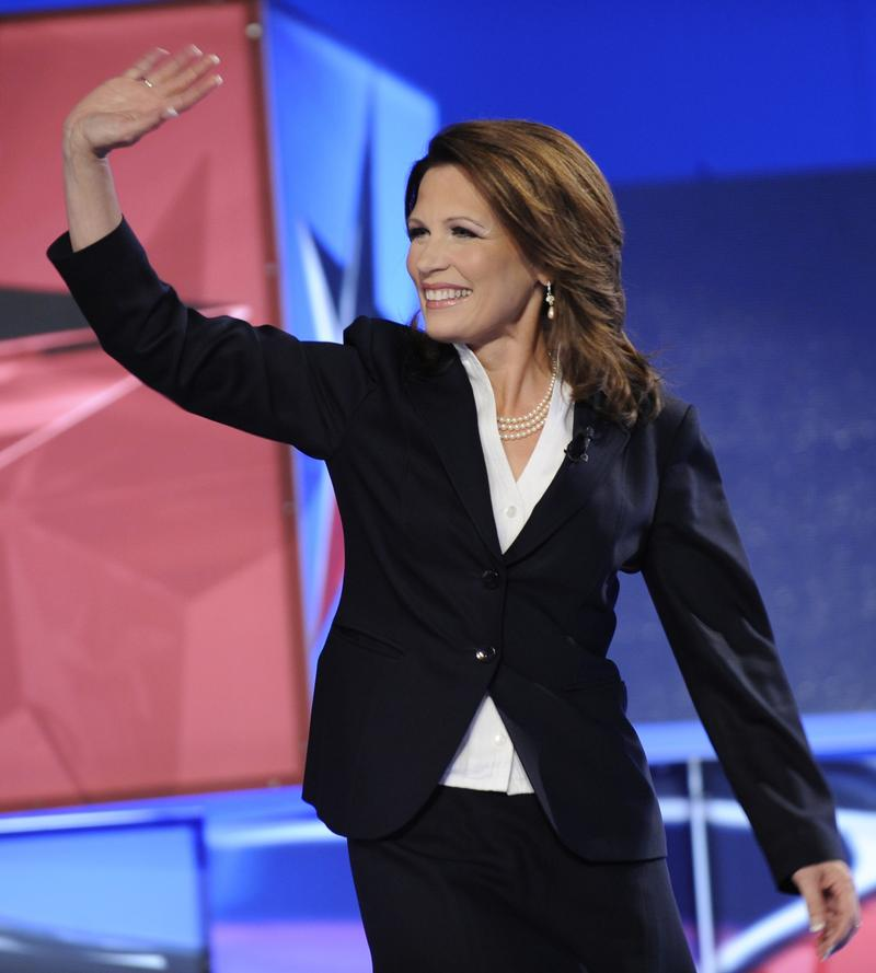 Congresswoman Michele Bachmann at the 2012 Republican presidential debate in Manchester, New Hampshire on June 13, 2011.