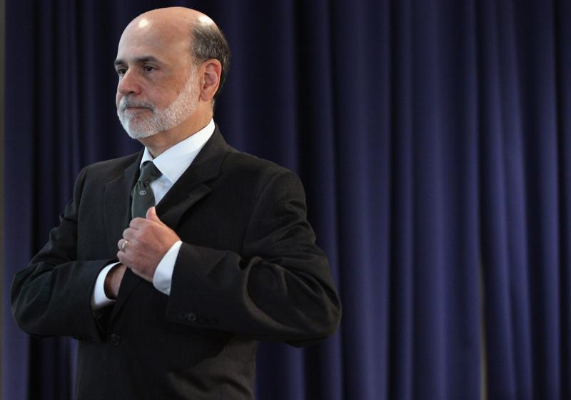 Federal Reserve Board Chairman Ben Bernanke walks away from the podiuim after delivering remarks September 15, 2011 in Washington, DC.