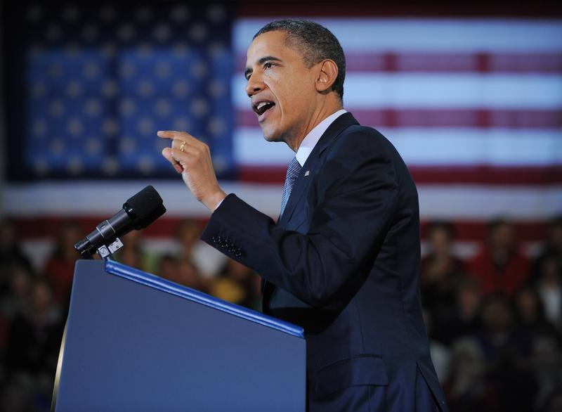 President Obama speaks on the economy in Osawatomie, Kansas.