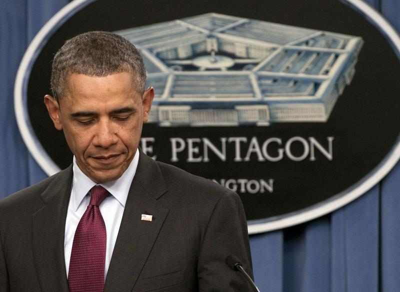 President Barack Obama speaks about the Defense Strategic Review during a press briefing at the Pentagon.
