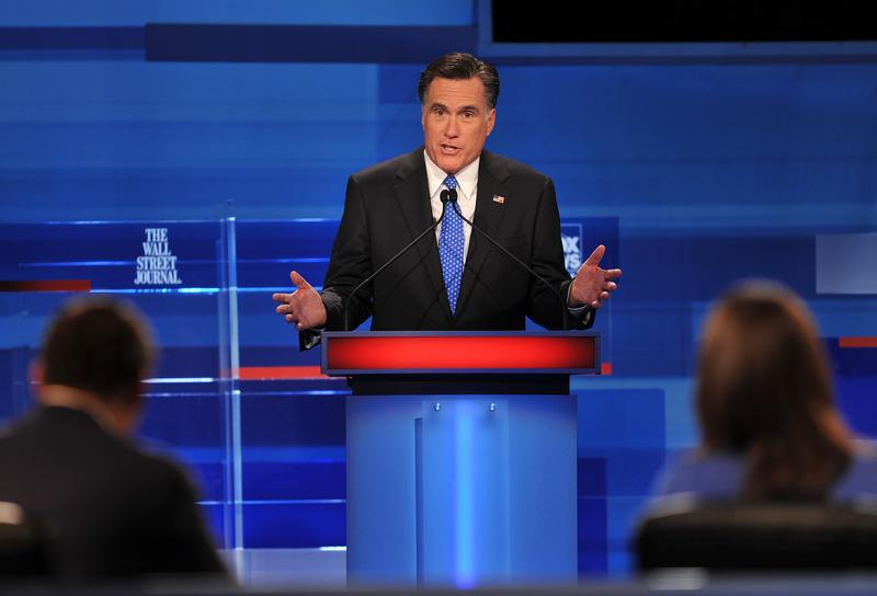 Mitt Romney takes part in a South Carolina Republican presidential debate in Myrtle Beach, South Carolina.