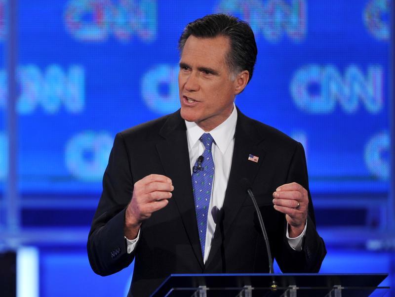 Massachusetts governor Mitt Romney speaks during the Florida Republican Presidential debate.