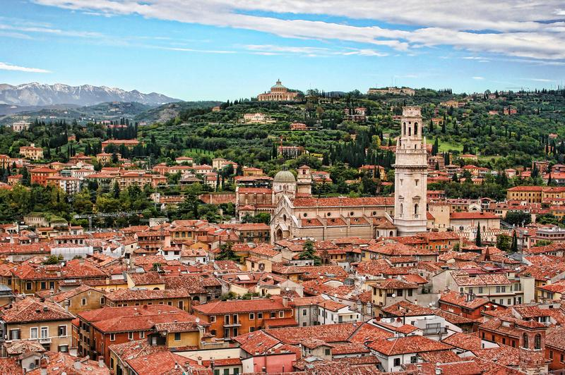 across the rooftops of Verona, Italy