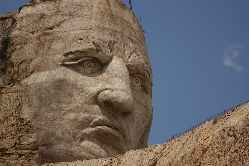 Close-up of a piece of the monument to Crazy Horse, in South Dakota