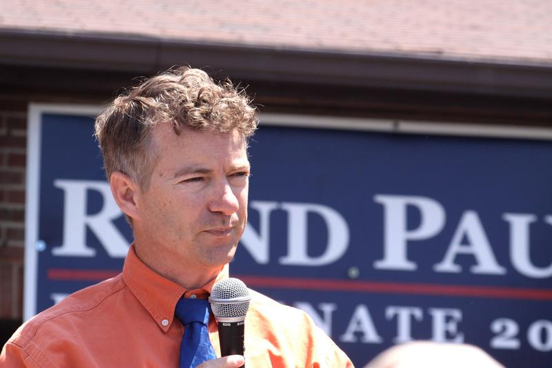 Senate candidate Rand Paul speaking to supporters at a rally in Florence, Kentucky, on May 15, 2010