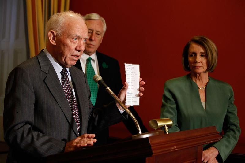 (FILE) Rep. Jim Oberstar (D-Minn), House Transportation and Infrastructure Committee Chairman, with Majority Leader Steny Hoyer (D-Md) and House Speaker Nancy Pelosi (D-Calif), on March 17, 2010