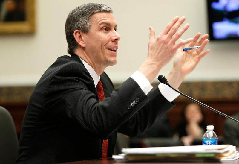 U.S. Education Secretary Arne Duncan testifies during a hearing before the House Education and Labor Committee March 17, 2010 on Capitol Hill in Washington, DC.