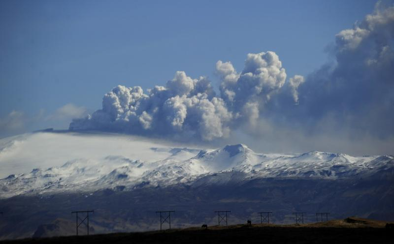 Smoke and ash bellow from the Eyjafjallajokull volcano as the volcano is seen from Hvolsvollur, Iceland, on April 19, 2010.