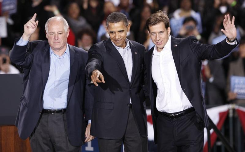 Illinois Governor Pat Quinn, President Barack Obama and Illinois State Treasure and US Senate Candidate Alexi Giannoulias wave to the crowd during the 'Moving America Forward' rally October 30, 2010.