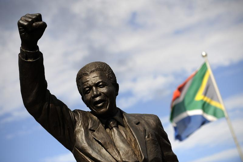 A bronze statue depicting former South African president Nelson Mandela as he walked to freedom in 1990 following his release after 27 years of incarceration.