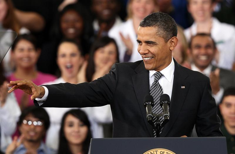 President Barack Obama delivering his 2013 budget address to students at Northern Virginia Community College.