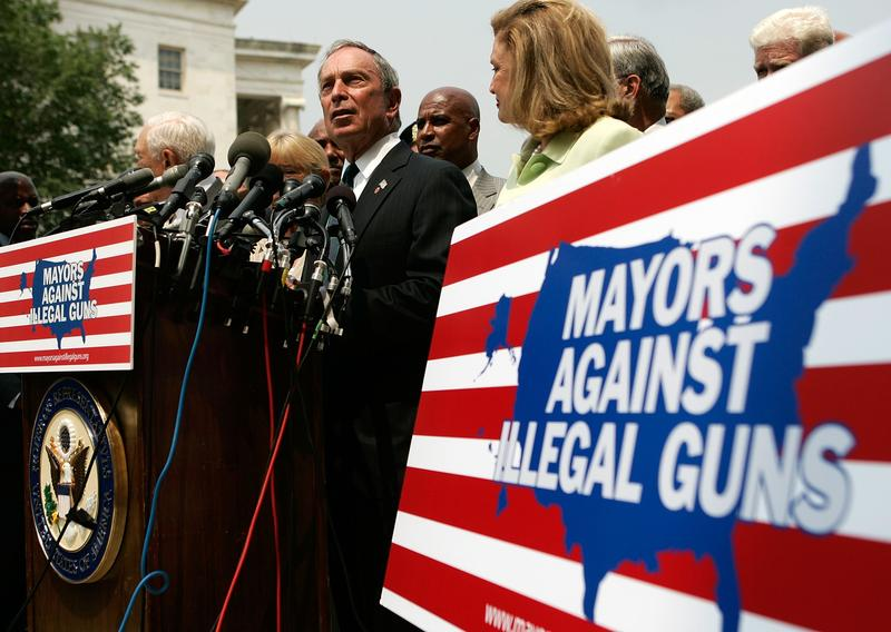 New York City Mayor Michael Bloomberg holds a news conference on gun control July 10, 2007 on Capitol Hill in Washington, DC.
