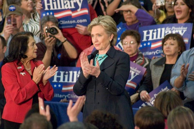Clinton appears at a New Mexico presidential campaign rally in 2008.
