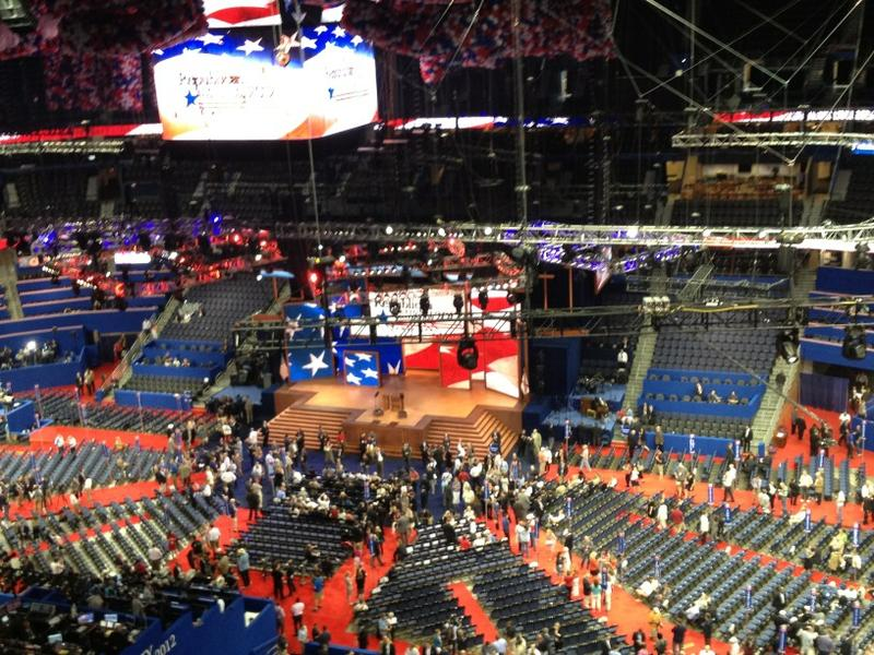 The view of the GOP convention floor from @WNYC's broadcast perch.