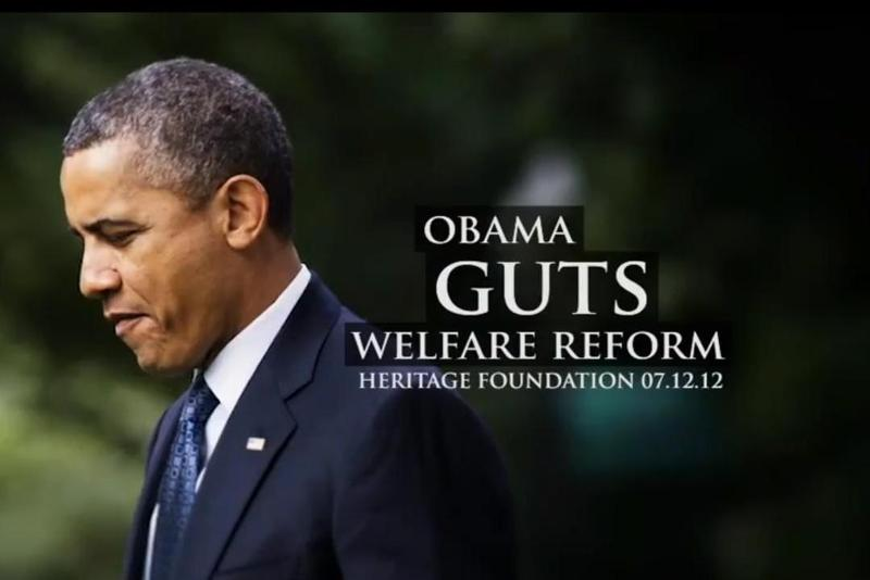"A still from ""Right Choice,"" a new attack ad from the Romney campaign charging Barack Obama with ""gutting"" welfare reform."
