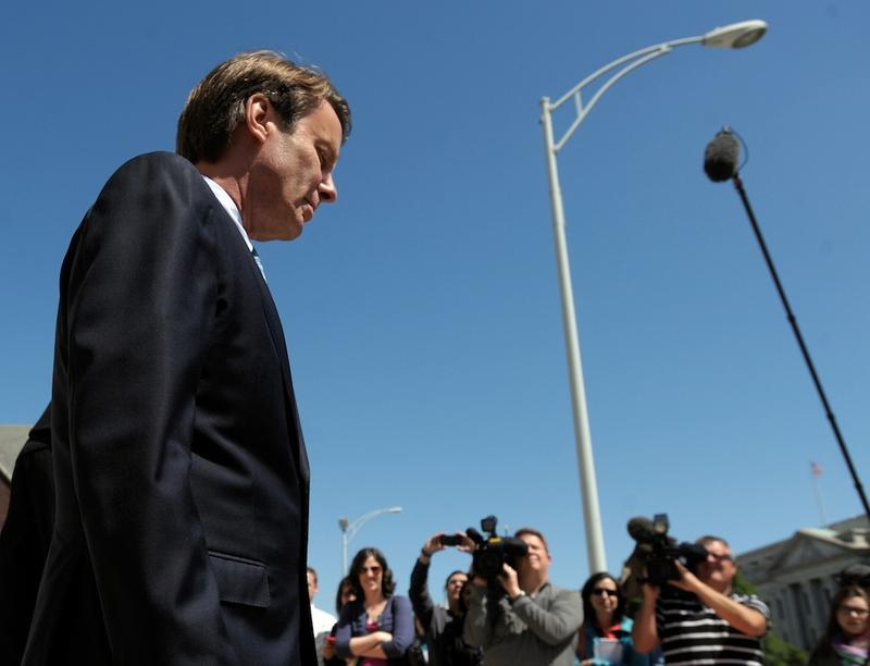 Former Senator John Edwards leaves the US Federal Courthouse after the first day of jury selection on April 12, 2012 in Greensboro, North Carolina.