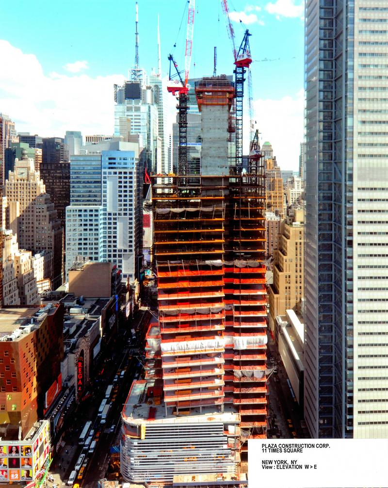 From this view  of Eleven Times Square the concrete core is visible. It's a three-foot wall of concrete that houses the building's utilities, as well as the stairs and elevators.