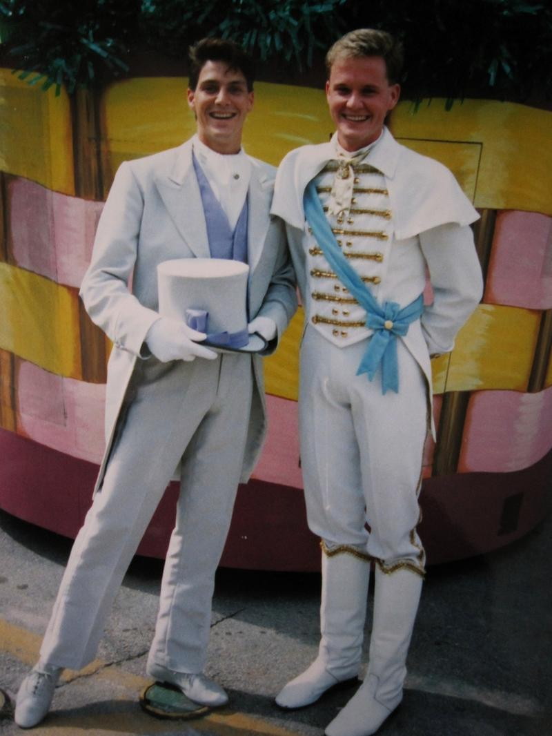 Michael Clowers and Clay Chaffin (who played Prince Charming) at Walt Disney World in 1989; the couple has been together ever since