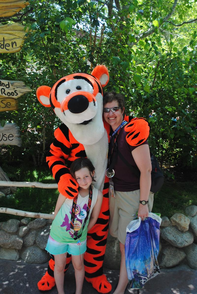 Annabel Fabian, 9, and her mom Genie Cesar-Fabian, and Tigger