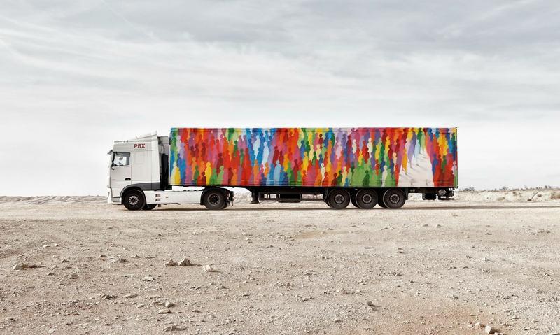 Freight truck street art by artist Suso33