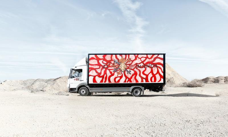 Artist Marina Vargas turned this freight truck into mobile street art
