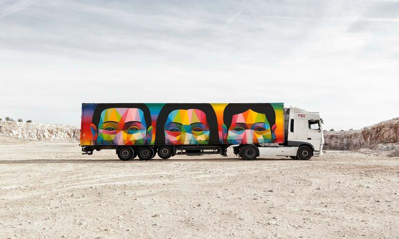 This freight truck was painted by artist Okuda San Miguel for the Truck Art Project