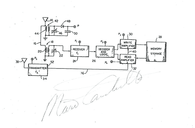 A sketch of Mario Cardullo's RFID transponder included in his patent filing in 1970.