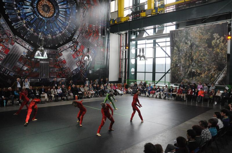 The premier of 'Quantam Dance,' by Gilles Jobin and Juilius von Bismarck, with a backdrop image of the CMS detector