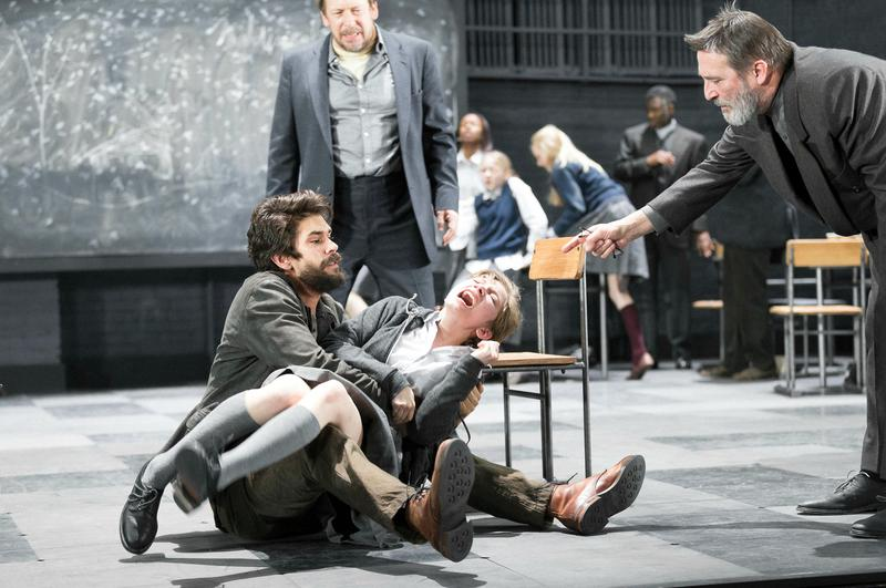 """From L to R: Ben Whishaw, Bill Camp, Tavi Gevinson and Ciaran Hinds in a scene from """"The Crucible"""""""