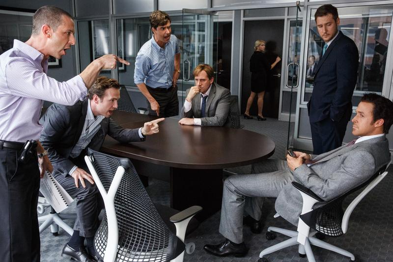 "Jeremy Strong as Vinnie Daniel, Rafe Spall as Danny Moses, Hamish Linklater as Porter Collins, Steve Carell as  Mark Baum, Jeffry Griffin as Chris and Ryan Gosling as Jared Vennett in ""The Big Short"""