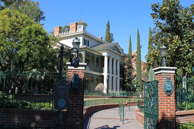 Entrance to the Haunted Mansion, an attraction in New Orleans Square, where facades are copied from real buildings in New Orleans