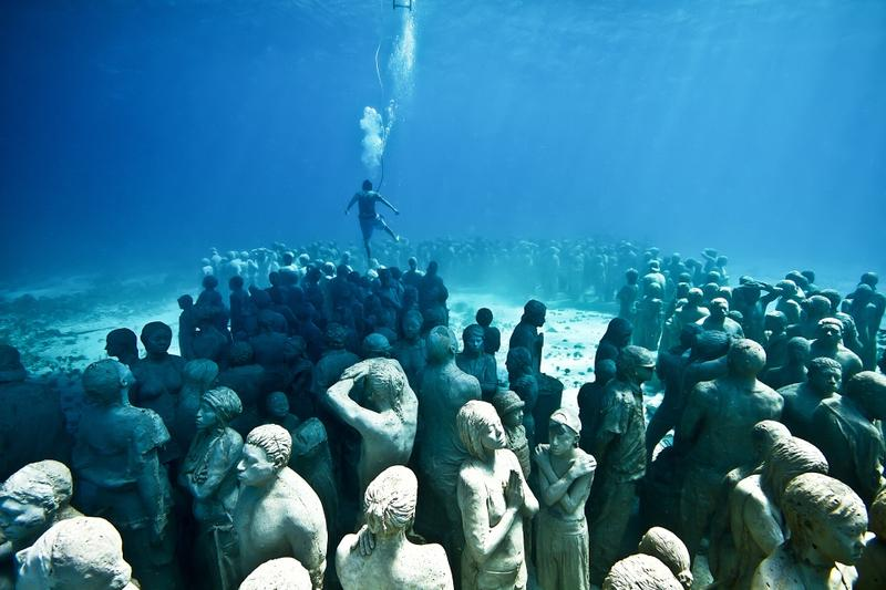 A view of 'Silent Evolution,' off the coast of Cancun and Isla Mujeres, Mexico