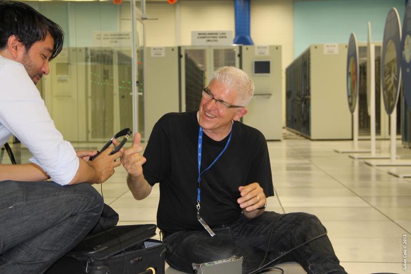 "Sound artist Bill Fontana with his CERN scientist ""inspiration partner,"" Subodh Patil"