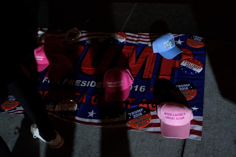 Trump gear for sale outside of the Hilton hotel on election night.