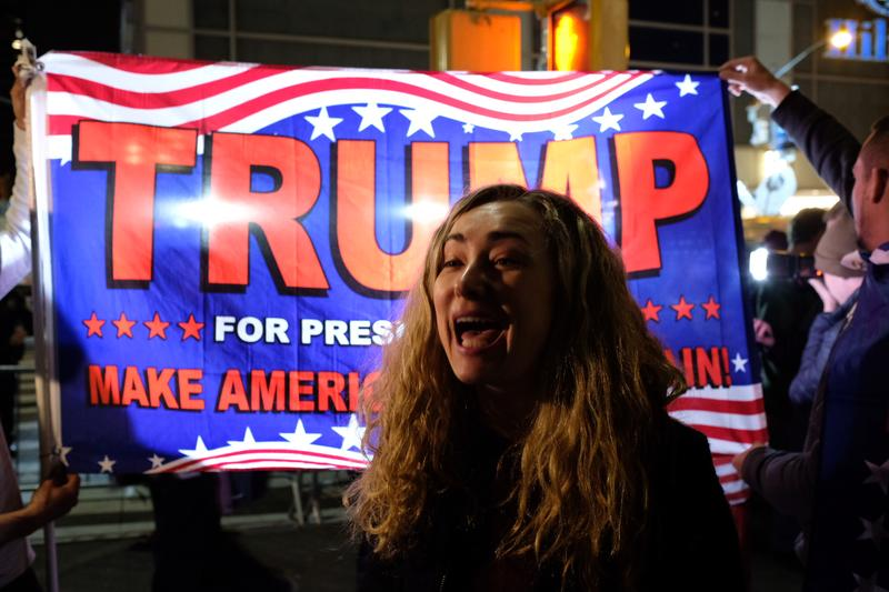 Trump supporters outside of the Hilton hotel on election night.