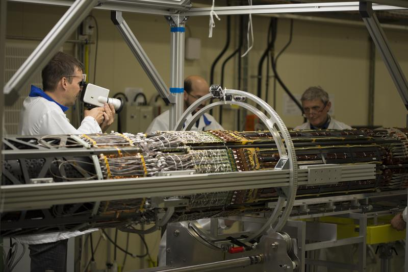 Filmmaker Jan Peters collecting footage during his residency at with CERN's ATLAS team