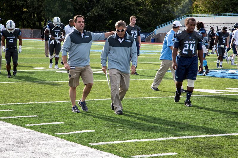 Coach Al Bagnoli at end of Columbia-Georgetown game, September 26, 2015