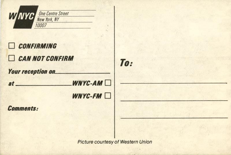 Flip side of WNYC QSL card from the 1980s.