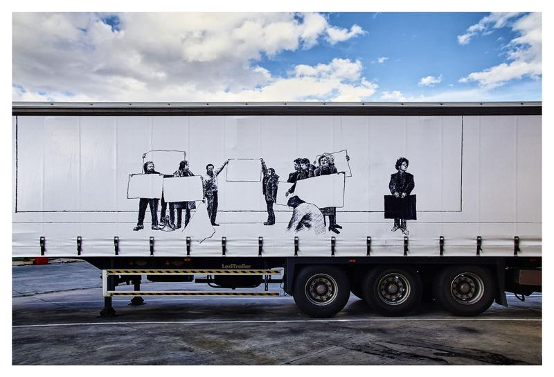Artist Javier Arce painted this freight truck for the Truck Art Project