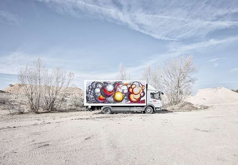 A freight truck painted by Abraham Lacalle