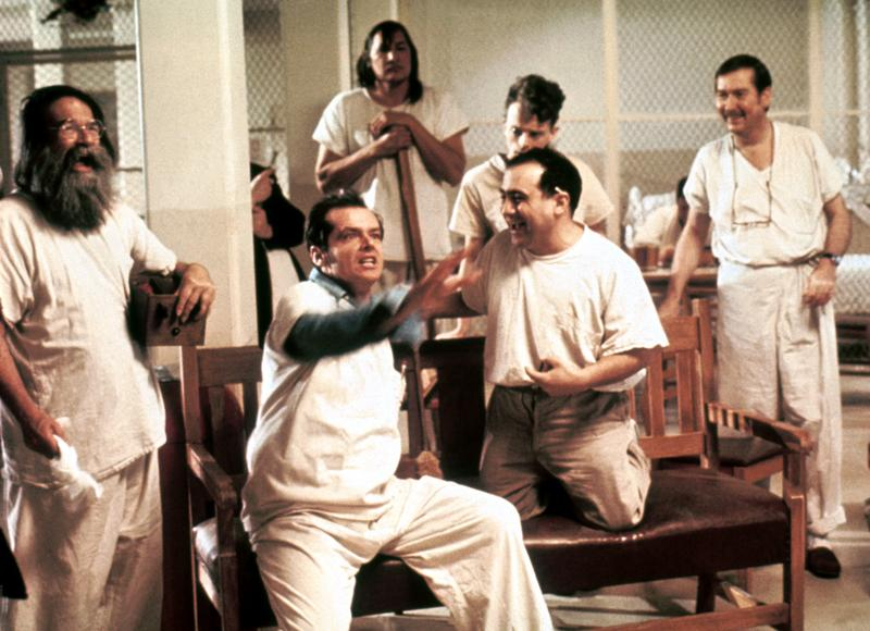 Jack Nicholson as R.P. McMurphy, a new patient in the Oregon State Mental Hospital.