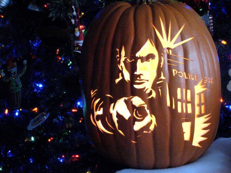 A 'Dr. Who' jack-o'-lantern complete with the Tardis